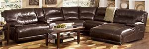 Leather reclining sectional sofa with chaise for Reclining sectional sofa for small space