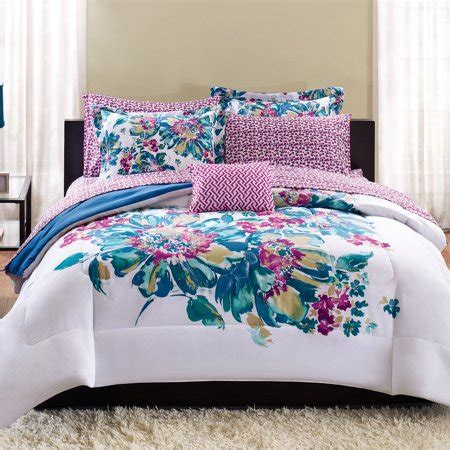 mainstays floral bed   bag bedding set walmartcom