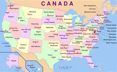 map of usa with the states and capital cities talk and