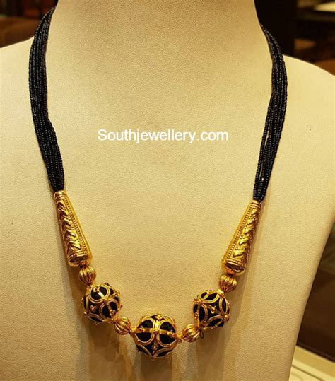 multi string black beads mangalsutra jewellery designs