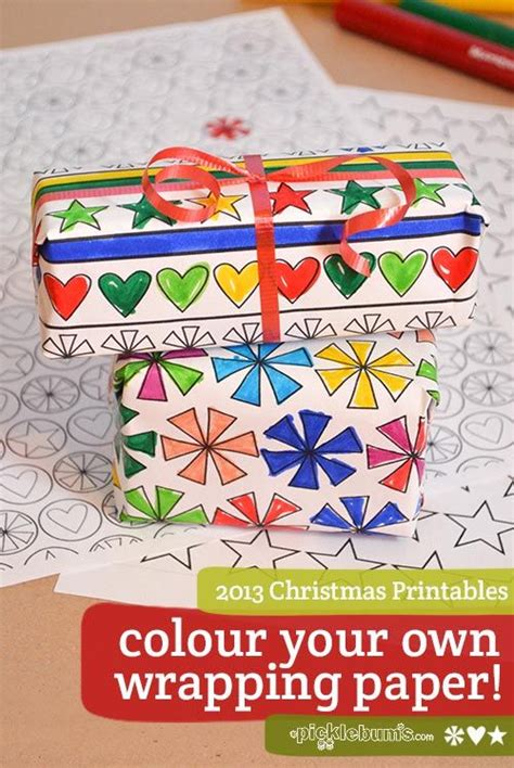Coloring Xms Gift Wrap by 2013 Printables Colour Your Own Wrapping Paper