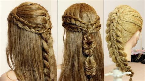 3 Easy Hairstyles For Long Hair Tutorial. Quick Braids
