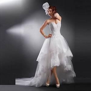customized back long front short wedding dress 2016 latest With short tulle wedding dress