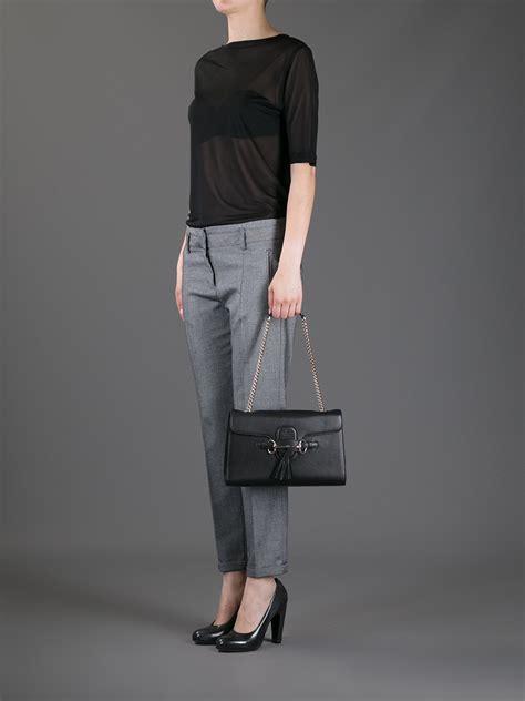 lyst gucci emily shoulder bag  black