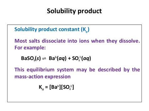 ionic salt l recall solubility and solubility product