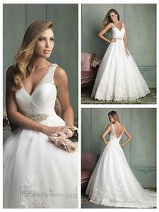 Sheer straps v neck and v back ball gown wedding dresses for V back wedding dress
