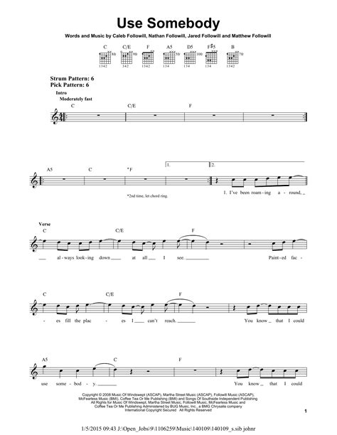 use somebody sheet music by kings of leon easy guitar