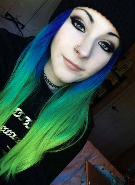 Blue Green Dyed Hair Scene Pretty Alternative