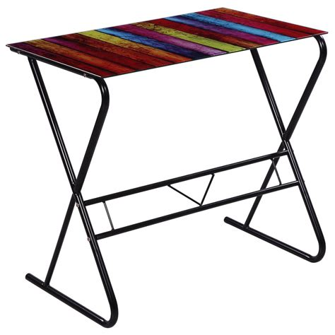 colorful glass desk with rainbow pattern lovdock com