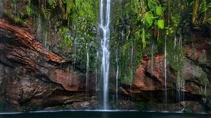 Waterfalls, On, Green, Plants, Covered, Rocks, Pouring, On, River, Hd, Nature, Wallpapers