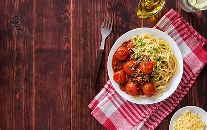 Italian Pasta Wallpapers Tomatoes Plate Fork