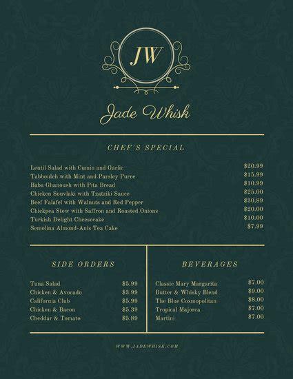 customize  elegant menu templates  canva