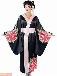 Ladies Geisha Costume Adults Japanese Fancy Dress Womens Kimono Oriental Outfit   eBay