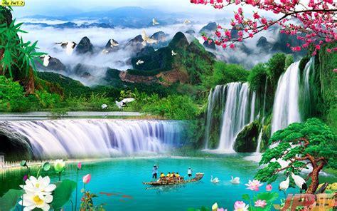 ภาพน้ำตกธรรมชาติ เรียกโชคลาภเงินทอง ก่อให้เกิดโชคลาภ
