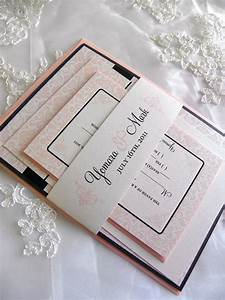 black and blush pink damask wedding invitation set by citlali With black white and blush wedding invitations
