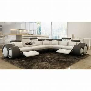 Canape d39angle design cuir blanc et gris relax achat for Canapé blanc design