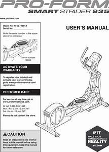 Proform Pfel199141 Smart Strider 935 Elliptical Users Manual