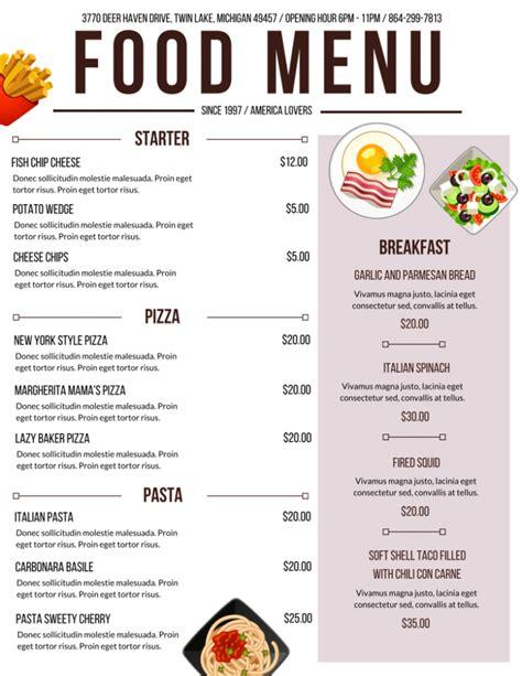 cuisine menu 20 outstanding restaurant menu templates for food and