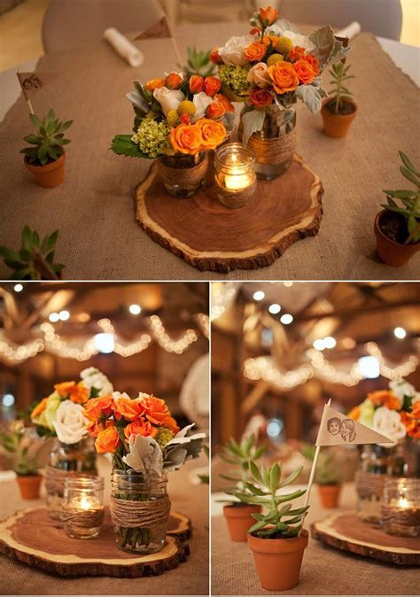 beautiful wood slices as centerpieces for this rustic barn