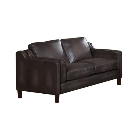Discontinued Uttermost Ls by Ballari Grey Loveseat In Rubbed Top Grain Leather