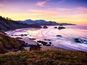 Sunrise, Sea, Coast, Pacific, Usa, Hd, Wallpapers, For, Desktop