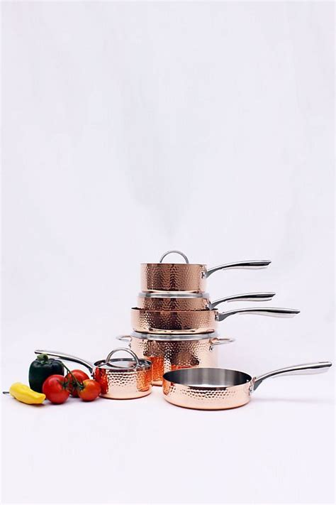 berghoff vintage collection  piece hammered copper cookware set copper cookware set copper