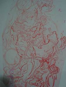 japanese thunder god full sleeve sketch | Thunder-雷 ...