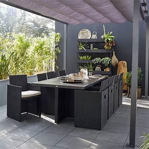 Salon De Jardin Encastrable Rsine Tresse Noir 8