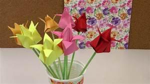 Origami Blumen Falten : origami tulpen diy blumen falten anleitung deko ~ Watch28wear.com Haus und Dekorationen