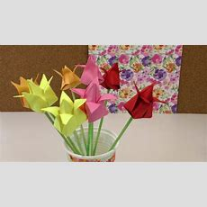 Origami Tulpen Diy  Blumen Falten Anleitung Deko
