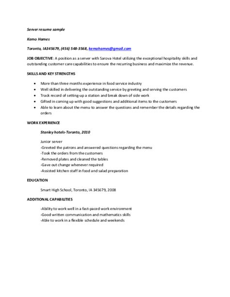 Major Duties Of A Server by Server Resume Sles Free Templates In Pdf And