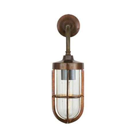 vintage industrial wall light in solid antique brass with