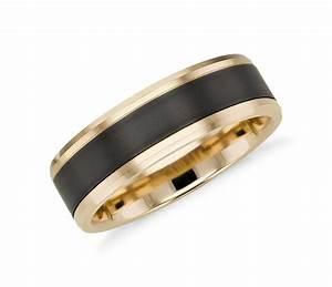 Satin finish wedding ring in black titanium and 14k yellow for Wedding ring black titanium