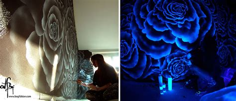 artist paints rooms  murals  glow  blacklight