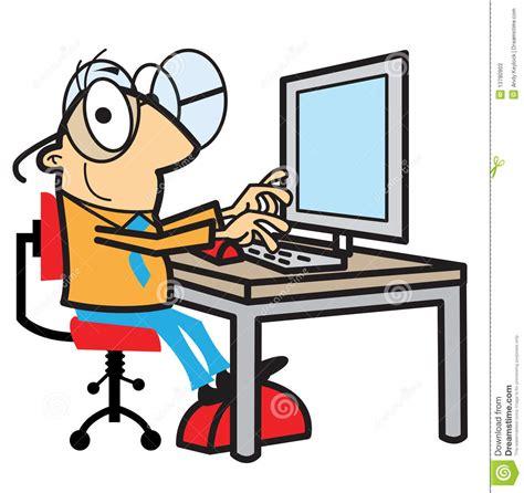 but informatique pc bureau working at computer stock vector