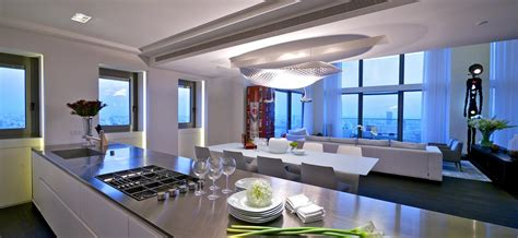 stunning open kitchen design with living room the stunning sky penthouse in israel
