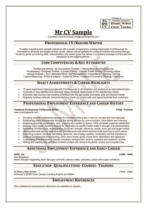How To Write A Professional Cv Sles by Professional Resume Writers Resume Cv