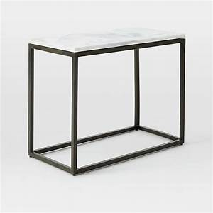 box frame narrow side table marble antique bronze west elm With box frame marble coffee table