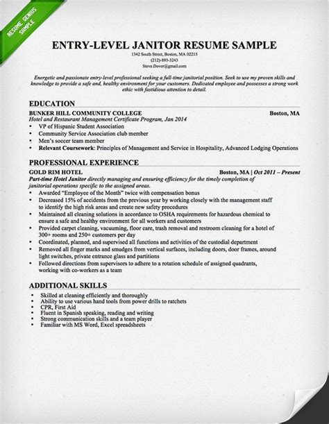 Free Janitorial Resumes by Entry Level Janitor Resume Sle Resume Genius