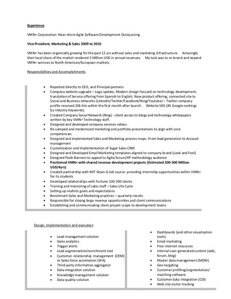 Product Management Resume Sles by Resume Of Lonnie Mcrorey International Sales Marketing Product Manag