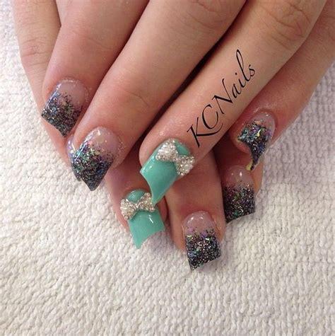 Mint Green Acrylic Nails with Rhinestones