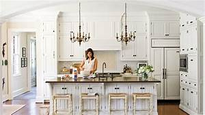 all time favorite white kitchens southern living With kitchen colors with white cabinets with art deco wall stencil