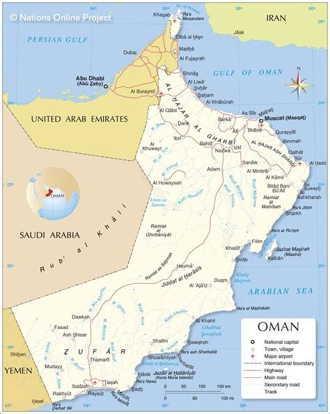 political map  oman nations  project