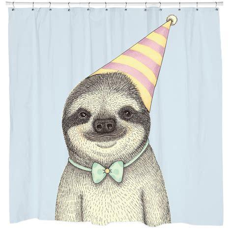 party sloth shower curtain moleskine sloth sloth