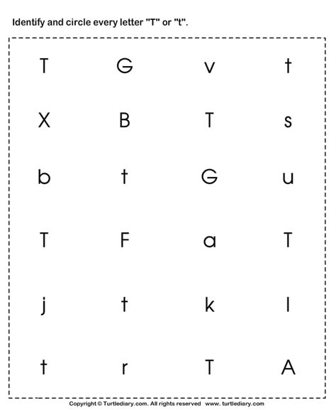 identifying lowercase and uppercase letter t worksheet