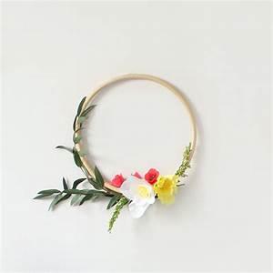 Couronne En Papier à Imprimer : couronne de fleurs en papier cr pon et cercle en bambou perles co ~ Melissatoandfro.com Idées de Décoration
