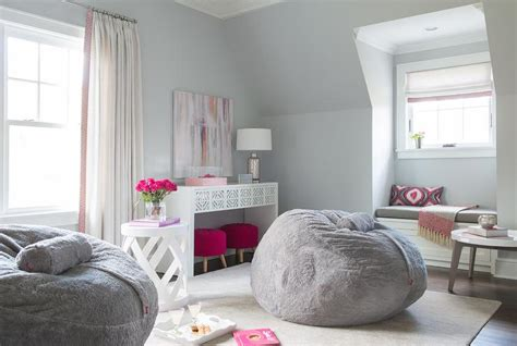 pink  gray teen girl bedroom design contemporary