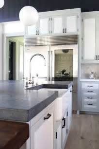 Gray Floor White Kitchen Cabinets Soapstone Counter