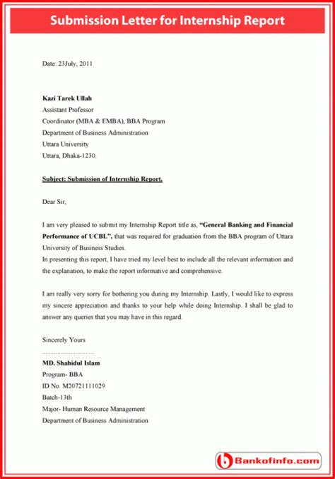 submission letter  internship report letter resume