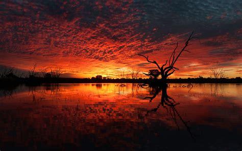 Wallpaper Sunset Lake Reflections 4k Nature 4836